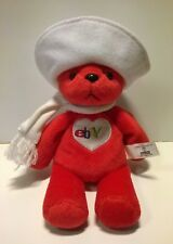 EBAY MASCOT BETSY BEAR SOFT PLUSH TOY WITH SCARF HAT AND LOGO BEAN BAG