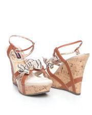 41f976ab40 Dollhouse Roza Rhinestone Bow Ankle Strap Cork Wedge Women Sandal shoes