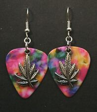 Guitar Pick Earrings With Marijuana, Pot Leaf Charm, Tie Dye Color