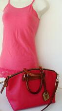 DOONEY & BOURKE Florentine Vacchetta Hot-Pink/Brown~ Satchel Shoulder Bag ~ NICE
