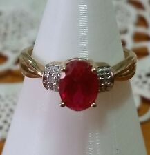 10K Yellow Gold Created Ruby Ring