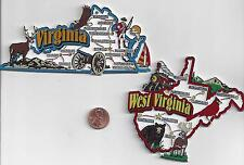 WEST VIRGINIA  and VIRGINIA STATE  JUMBO MAP MAGNETS 7 COLOR   NEW  2 MAGNETS