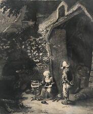 D'après Adriaen van Ostade La dévideuse gravure Salon de Paris 1913
