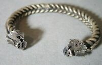 VINTAGE ANCIENT STYLE CHINESE  PHOENIX  DRAGON SILVER TONE  CUFF BRACELET