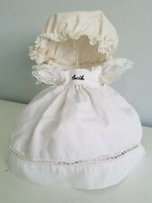"""A6 Vtg Doll Dress Clothes """"Cecile"""" Frilly Lace Ruffle Bonnet Hat Teddy Bear"""