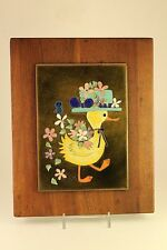Vtg Mid Century Edith Meyer Enamel Copper Cloisonne Style Art Duck Framed Signed