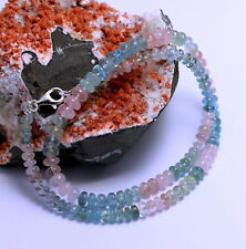 Natur Beryll kette Aquamarin Morganit Heliodor Edelsteinkette Collier 925 Silber