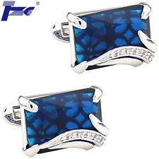 Men Blue Zircon & Clear Stone Shirt Cufflinks With Velvet Bag TZG Cuff Links