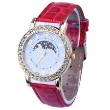 Women Fashion Platinum Range Rhinestone Analog Red Leather Quartz Wrist Watch.