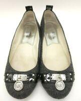 Michael Kors Gray Wool Look Casual Slip On Logo Flats Shoes Women's 6 M