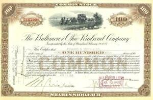 1928 B&O Baltimore & Ohio Railroad common capital stock certificate