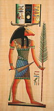 """Egyptian Papyrus - Hand Made Painting   12"""" x 25"""" - Ancient Art - God Khnum"""