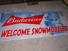 NEW VERY COOL BUDWEISER BUDWISER BUDWIESER BEER BANNER WELCOME SNOWMOBILE
