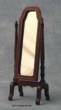 Espejo de caoba Giratorio vestido de longitud completa, Casa Muñeca Miniatura, Escala 1.12