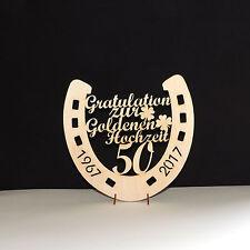 Goldene Hochzeit Gratulation Zahl 50 im Hufeisen Kleeblatt 20cm 1967 2017 Holz