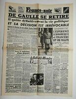 N705 La Une Du Journal France-soir 22 janvier 1946 De Gaulle se retire politique