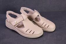 C1333 Brödel Damen Sandalen Riemchen-Schuhe Leder beige Gr. 36 Massagesohle
