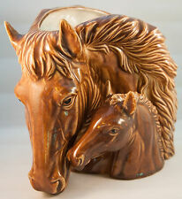Vintage Napco Art Pottery Glazed Horse Head Planter Vase Brown Mare Foal