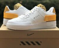 NIKE AIR FORCE 1 TYPE CASUAL SHOES WHITE / UNIVERSITY GOLD AT7859-100 N. 354 NEW