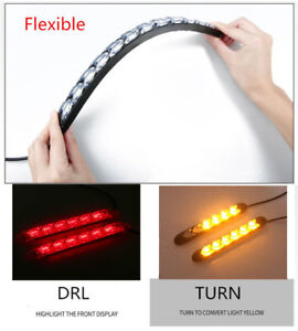 2x Car 6 LED Amber/Red Switchback Flowing Strip Arrow DRL Turn Signal Light