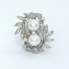 Very Cool Vintage Pearl & Diamond Cocktail Ring