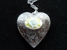 ANTIQUE SILVER ROSE CAMEO HEART LOCKET BABY BLUE ROSE