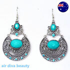 Women Retro Boho blue turquoise Long Ethic Bohemian Party Earrings Ear Hook Drop