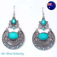 Women Retro Boho blue turquoise Long Ethic Bohemian Party Earrings Ear Hook Drop
