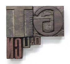Letterpress Letter Wood Type Printers Block Lot Of 7 Mix Typography Eb 285