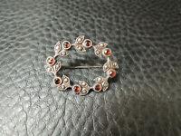 Antique Victorian Bohemian Garnet Sterling Silver 835 Pin Brooch