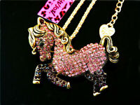 Betsey Johnson Pink Rhinestone Horse Pony Pendant Necklace Sweater Chain