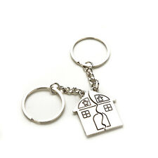 2 X Couple Keyring House Shape Personalized Souvenirs Metal Couple Keychain CA