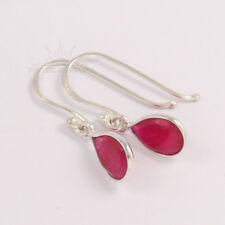 Charming Lovely Earrings Dyed RUBY Pear Cut Gems 925 Pure Sterling Silver