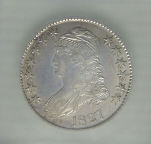 1827 Capped Bust Silver Half Dollar ~ ICG AU53, SWEET!!!