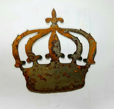 "6"" Fancy Crown Rusty Metal Wall Art Craft Stencil Vintage DIY Queen French Sign"