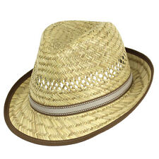Mens 59cm Natural Straw Fedora w Taupe Band Summer Sun Hat GR8 4 Races