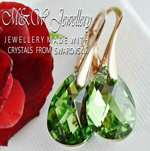 925 SILVER ROSE GOLD PL. EARRINGS PEAR - Peridot CAL - CRYSTALS FROM SWAROVSKI®