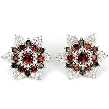 Sterling Silver 925 Genuine Natural Garnet Smokey Quartz & Lab Diamond Earrings