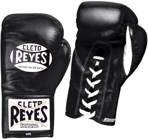 Cleto Reyes Safetec Professional Fight Gloves, Black, 8-Ounce