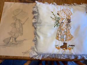 vintage Holly Hobby Handmade Pillow Decorative  Farmhouse Pairie Pencil Drawing