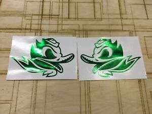 Oregon Ducks Alternate Decals (2) Chrome Green Full Size  Pro Combat Edition