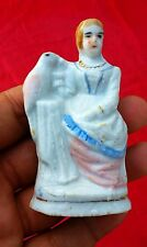Antique Rare Beautiful Handmade Porcelain Queen With Bird In Hand