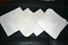 9 VINTAGE SOFT 100% LINEN FLAX TABLE NAPKINS JACQUARD Made in Europe