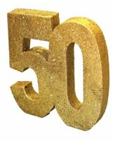"Gold Glitter Table Decoration 50 Years 8""x 8"" Ladies 50th Party Wedding Birthday"