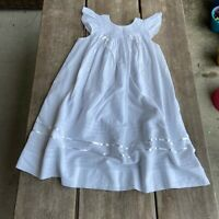 Girls Will'beth Will Beth White Smocked Angel Wing Bishop Dress Ribbon Size 6