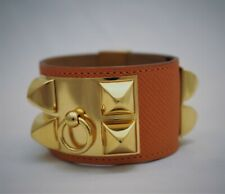 Hermes Collier de Chien CDC MEDOR Orange Leather Gold Bracelet Bangle Small
