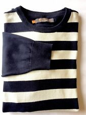 Ben Sherman Men Crew Neck Sweater Large Blue Offwhite Stripe
