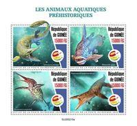 Guinea Dinosaurs Stamps 2020 MNH Prehistoric Water Aquatic Animals 4v M/S