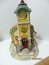 PartyLite Olde World Village 4 Clock Tower - Porcelain Bisque - Owv Quartz Clock