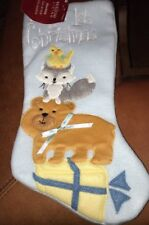 Christmas Stocking for Baby's First Christmas Blue Fleece